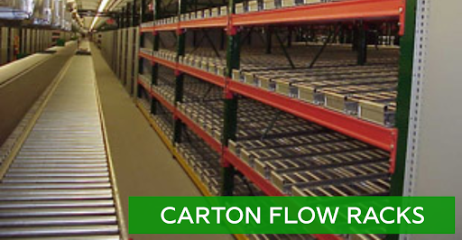 Carton flow racking options for sale at Lift, Inc.